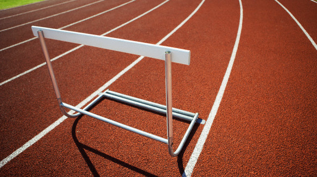 Hurdle on an athletic track